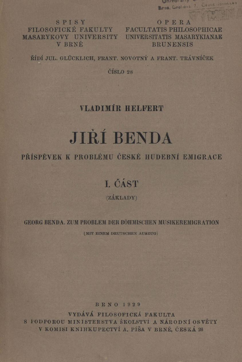 Obálka pro Jiří Benda : příspěvek k problému české hudební emigrace. Část 1, Základy