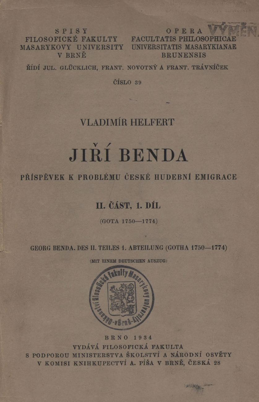 Obálka pro Jiří Benda : příspěvek k problému české hudební emigrace. II. část. 1. díl, Gota, 175