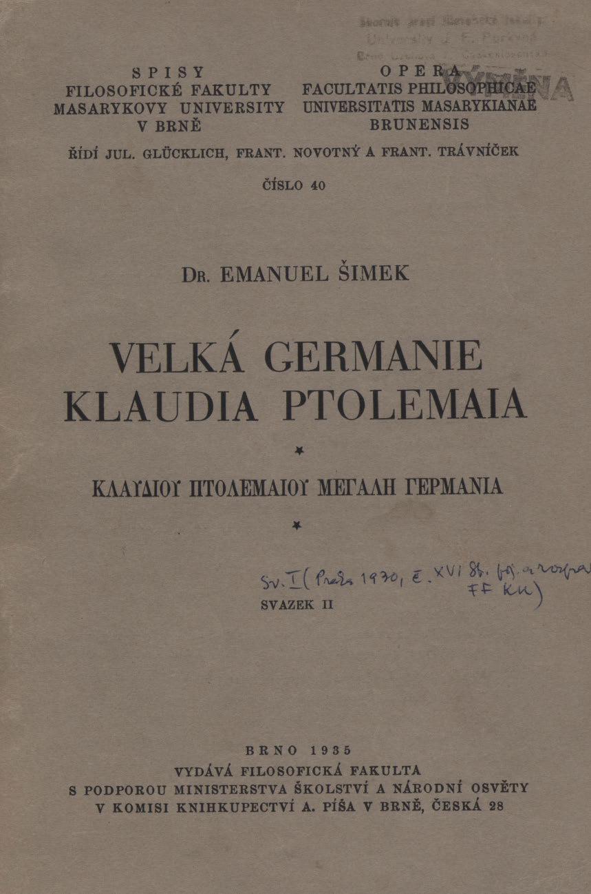 Obálka pro Velká Germanie Klaudia Ptolemaia. Svazek II