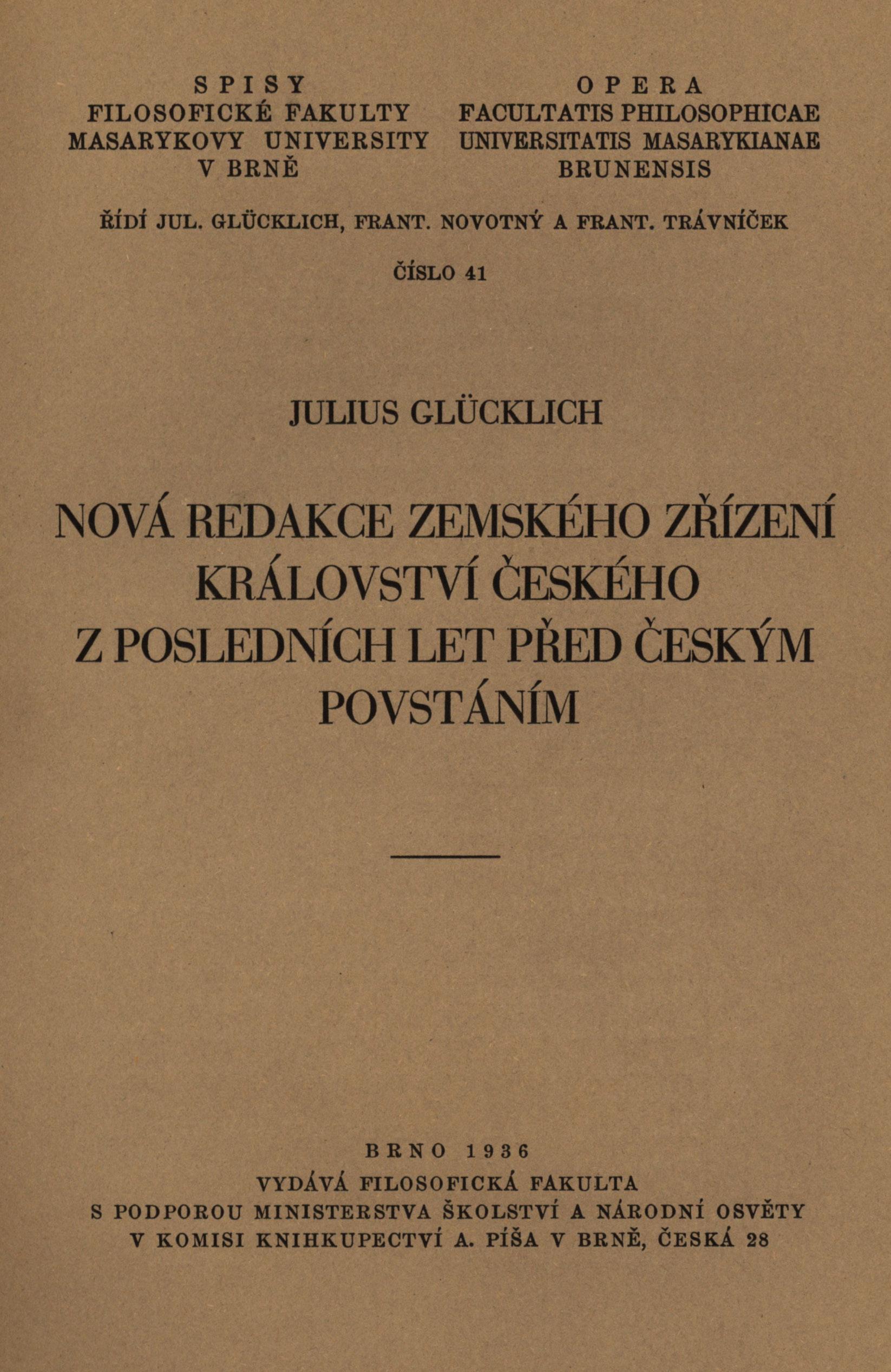 Obálka pro Nová redakce zemského zřízení království českého z posledních let před českým povstáním