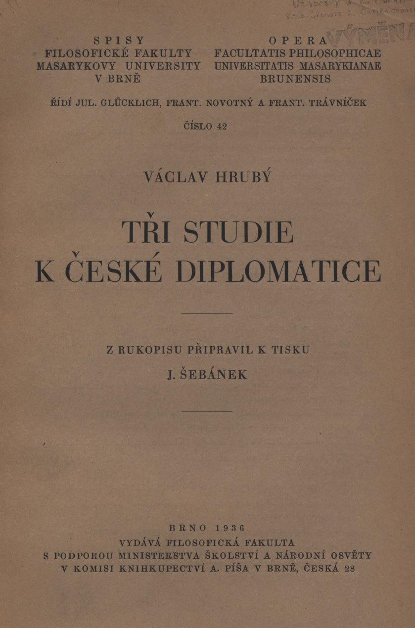 Obálka pro Tři studie k české diplomatice