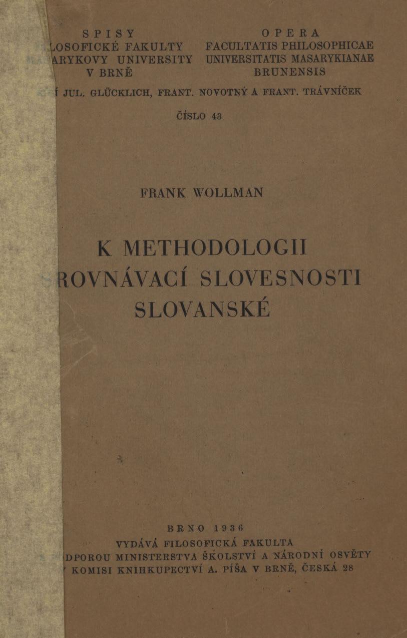 Obálka pro K methodologii srovnávací slovesnosti slovanské