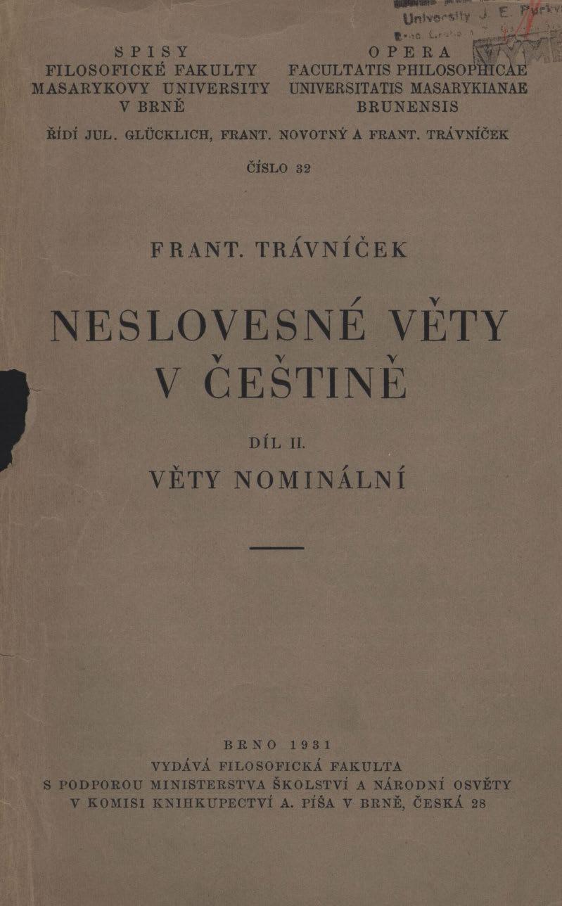 Obálka pro Neslovesné věty v češtině. Díl II, Věty nominání