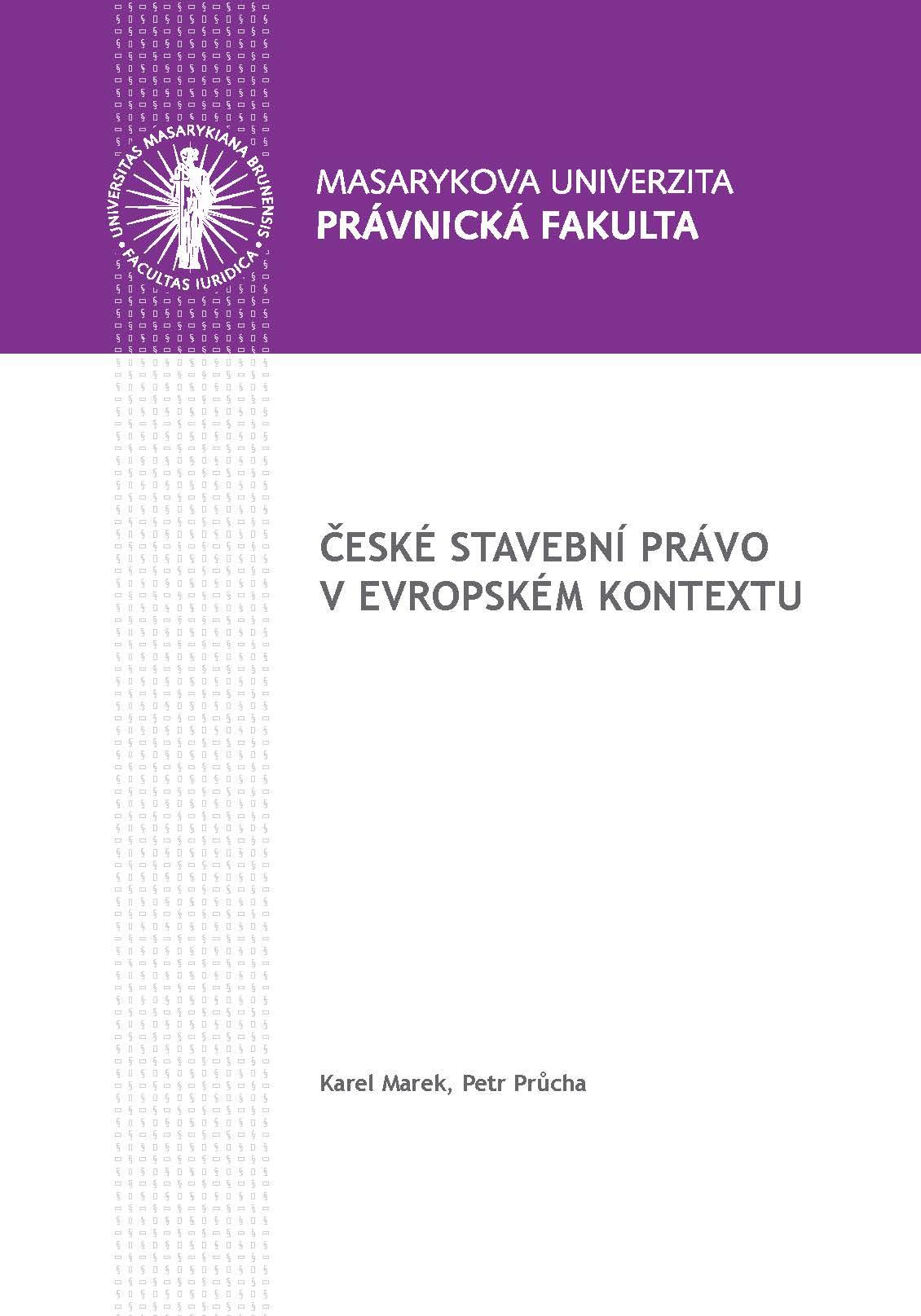 Obálka pro České stavební právo v evropském kontextu