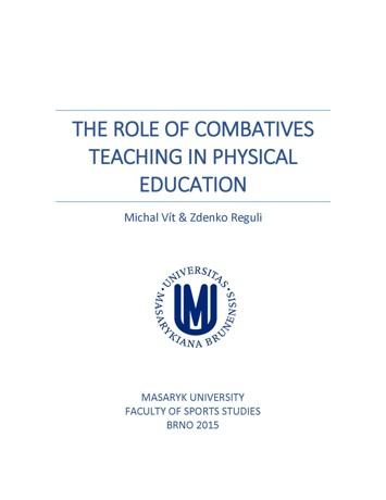 Obálka pro The role of combatives teaching in physical education