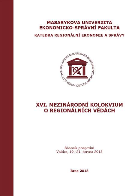 Obálka pro XVI. Mezinárodní kolokvium o regionálních vědách. Sborník příspěvků. Valtice, 19.–21. června 2013