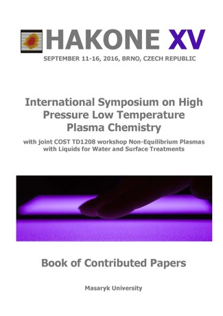 Obálka pro Hakone XV: International Symposium on High Pressure Low Temperature Plasma Chemistrywith joint COST TD1208 workshop Non-Equilibrium Plasmas with Liquids for Water and Surface Treatment. Book of Contributed Papers