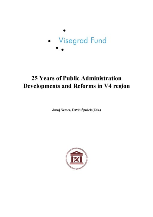 Obálka pro 25 Years of Public Administration Developments and Reforms in V4 region