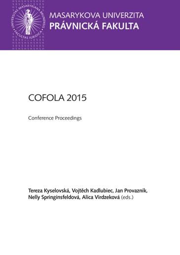 Obálka pro COFOLA 2015. Sborník z konference