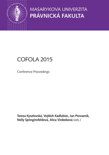 Obálka pro COFOLA INTERNATIONAL 2015. Current Challenges to Resolution of International (Cross-border) Disputes. Conference Proceedings