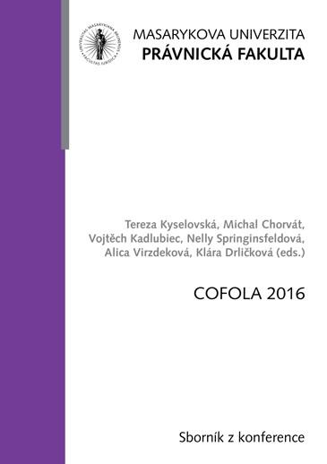 Obálka pro COFOLA 2016. Sborník příspěvků z konference
