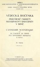 Obálka pro Vědecká ročenka právnické fakulty Masarykovy university v Brně. 4. (1925)