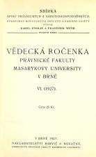 Obálka pro Vědecká ročenka právnické fakulty Masarykovy university v Brně. 6 (1927)
