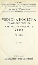 Obálka pro Vědecká ročenka právnické fakulty Masarykovy university v Brně. 7. (1928)