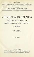 Vědecká ročenka právnické fakulty Masarykovy university v Brně. 7. (1928)