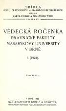 Obálka pro Vědecká ročenka právnické fakulty Masarykovy university v Brně. 1. (1922)