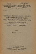 Obálka pro O lineární diferenciální rovnici homogenní čtvrtého řádu, která je sama k sobě adjungována/Sur l'équation différentielle linéaire et homogène du quatrième ordre qui est identique à son adjointe