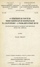 Obálka pro O některých nových nebo kritických rostlinách na Slovensku a Podkarpatské Rusi