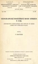 Obálka pro Geografické rozšíření rodu Ophrys v ČSR