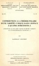 Obálka pro Contributions a la théorie polaire d'une variété cubique dans l'espace a quatre dimensions. I.