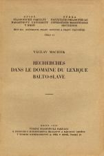 Obálka pro Recherches dans le domaine du lexique Balto-Slave