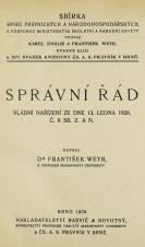 Obálka pro Správní řád : vládní nařízení ze dne 13. ledna 1928, č. 8. Sb. z. a n.
