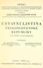 Obálka pro Ústavní listina Československé republiky : její znění s poznámkami