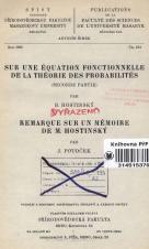 Obálka pro Sur une équation fonctionnelle de la théorie des probabilités. Seconde partie