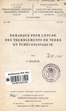 Obálka pro Remarque pour l'étude des tremblements de terre en Tchécoslovaquie