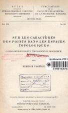 Obálka pro Sur les caracteres des points dans les espaces topologiques
