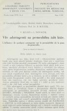 Obálka pro Vliv adstringentií na permabilitu žabí kůže / L'influence de quelques astrigents sur la perméabilité de la peau de grenouille