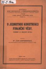 Obálka pro O jednotnou konstrukci finanční vědy : (poznámka ku Englišově kritice)