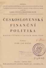 Obálka pro Československá finanční politika : nástin vývoje v letech 1918-1930