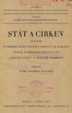 """Obálka pro Stát a církev : studie o poměru mezi státem a církví v 19. století podle doktriny encykliky """"Quanta cura"""" a syllabu Errorum"""