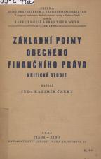 Základní pojmy obecného finančního práva : kritická studie