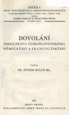 Obálka pro Dovolání podle práva československého, německého a francouzského