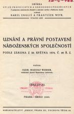 Obálka pro Uznání a právní postavení náboženských společností podle zákona z 20. května 1874, č. 68 Ř. Z.