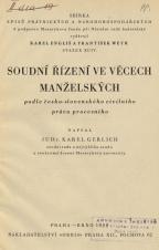 Obálka pro Soudní řízení ve věcech manželských podle česko-slovenského civilního práva procesního