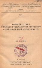 Obálka pro Domnělá píseň pražských vyhnanců na Slovensko a její slovenské příbuzenstvo