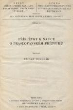 Obálka pro Příspěvky k nauce o praslovanském přízvuku